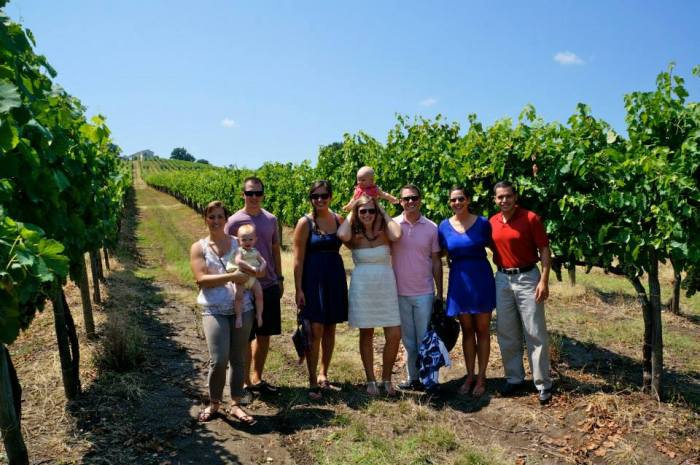 group in vineyard